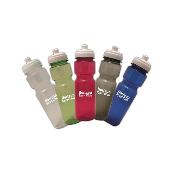 Imprinted Round translucent bottle with sipper lid