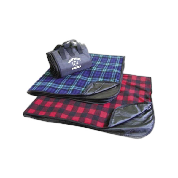 Imprinted Waterproof plaid picnic fleece blanket