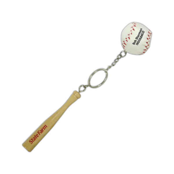 Imprinted Baseball and bat key chain