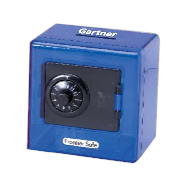 Imprinted Blue plastic combination lock bank
