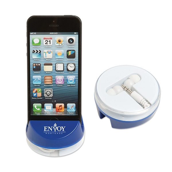 Phone Holder with Stylus and Earbuds