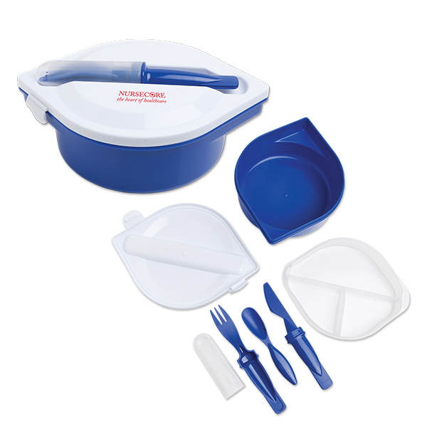 Round Lunch Container with Utensil Set