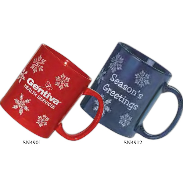 Imprinted Ceramic snowflake mug