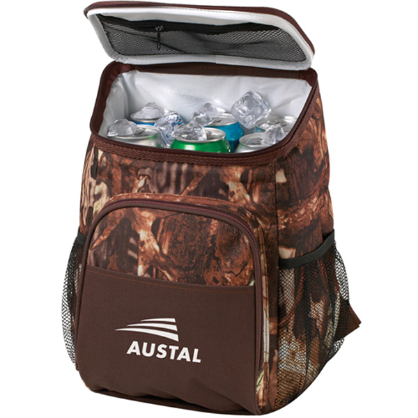 Promotional 12 Can Camo Backpack Cooler