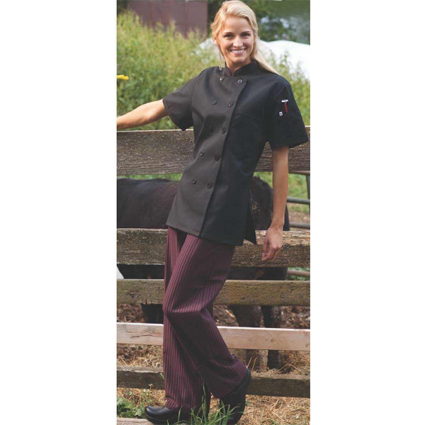 Women's Short Sleeve Chef Coat - Black