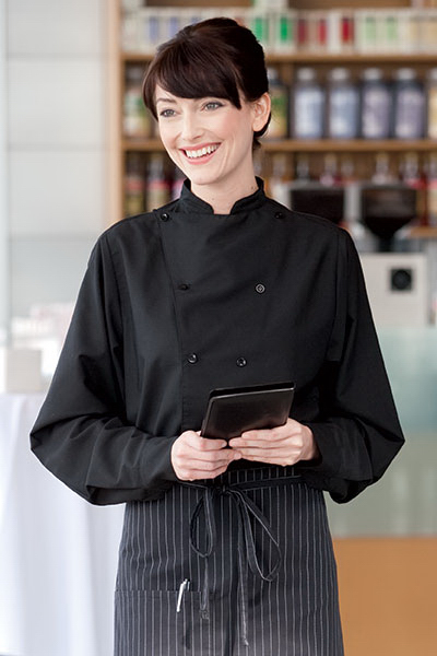Upscale Double Breasted Kitchen Shirt - Long Sleeve/Black