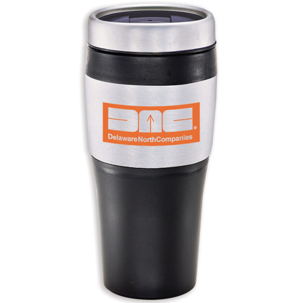 Printed Stainless with Black Grip Tumbler - 16 oz