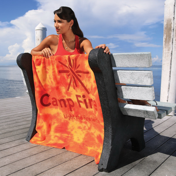 Imprinted Lightweight Fleece Tie Dye Blanket