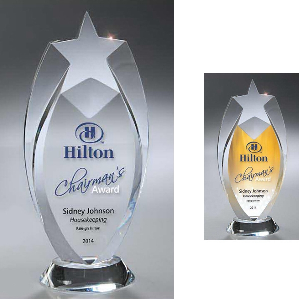 Optic Clear Crystal Star Award with Digi-Color Imprint
