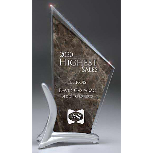 Promotional Beveled Lucite Peak on Frosted Sterling Resin Cast Stand