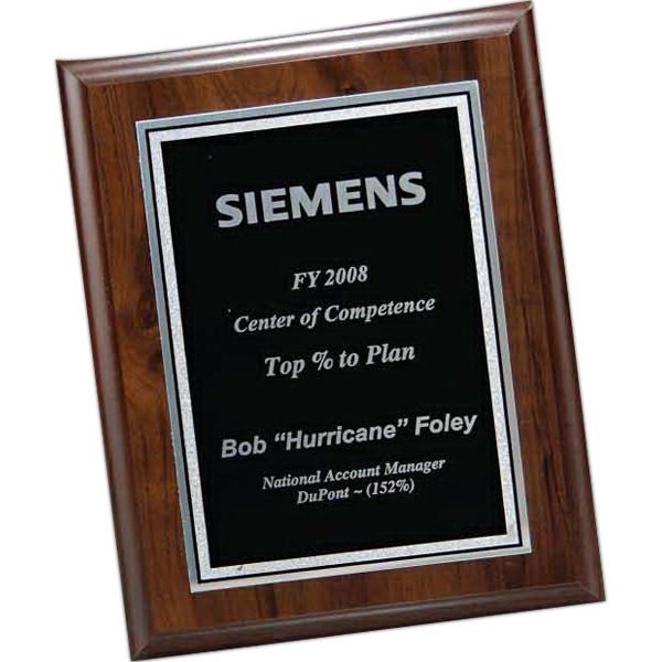 Walnut Finish Plaque with Black Florentine