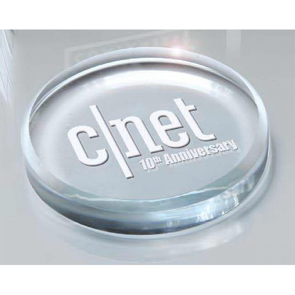 Round Clear Glass Paperweight