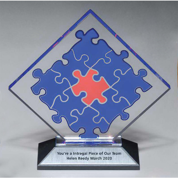 Puzzle Lucite Award with Lasered Plate