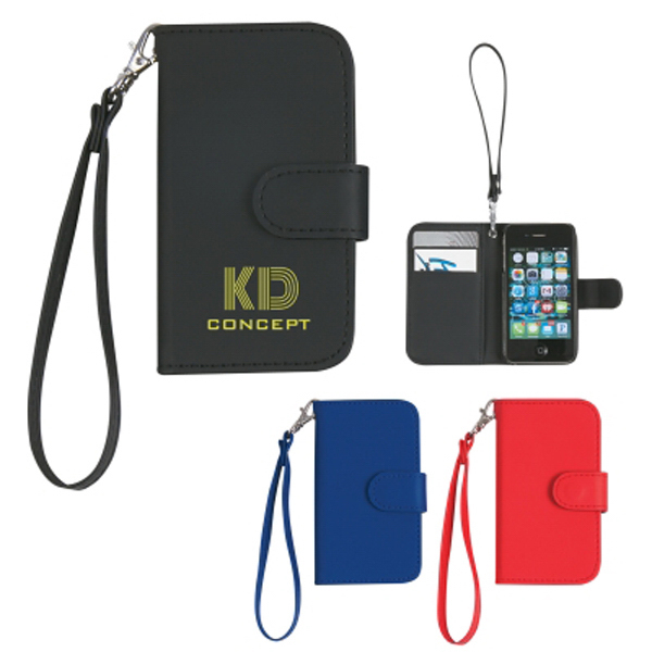 Imprinted Case with magnetic close tab and strap for iPhone 4/4S