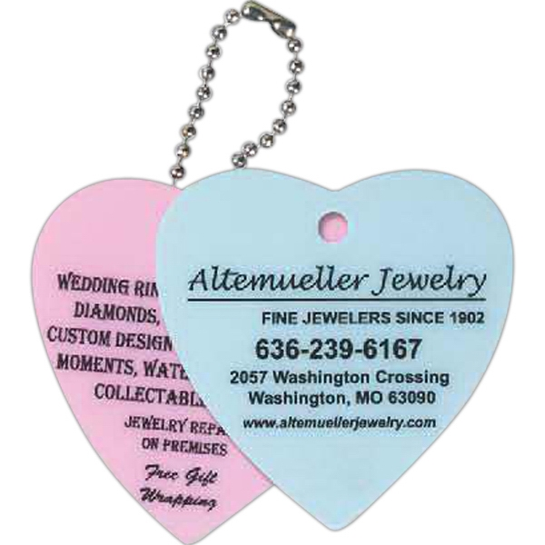 Promotional Heart Shaped Laminated Key Tag
