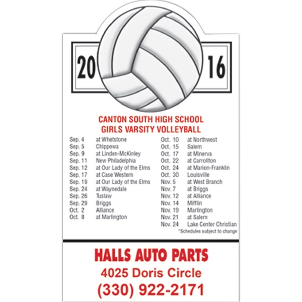 Imprinted Magnet 20 Mil - Volleyball Schedule - Full Color