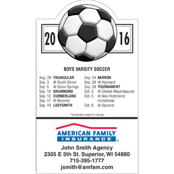 Customized Magnet 20 Mil - Soccer Schedule - Full Color