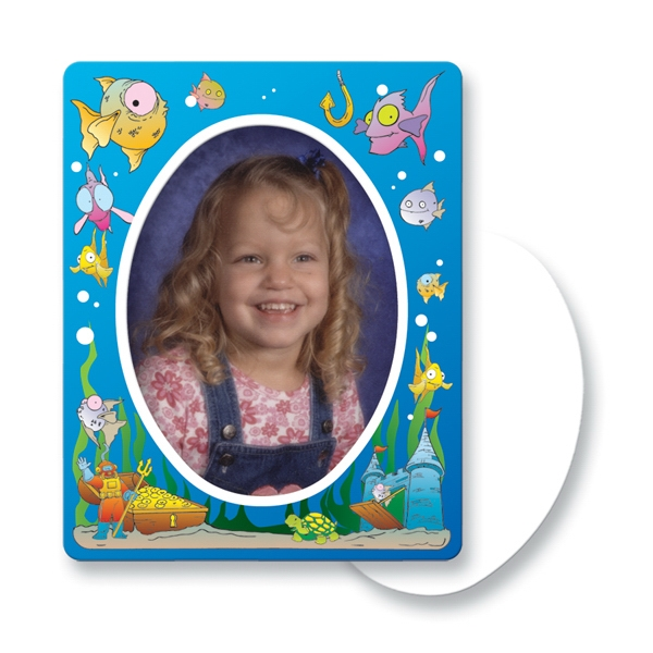 Promotional Magnet 30 Mil - Oval Center Ocean Picture Frame - Full Color