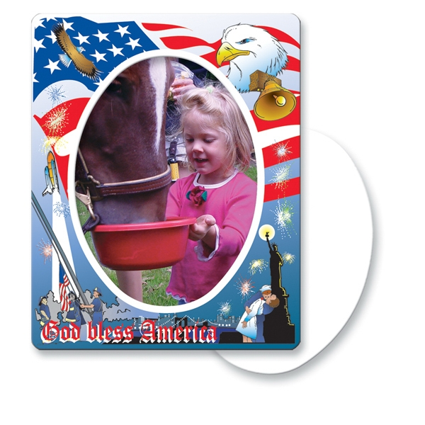 Customized Magnet 30 Mil - Oval Center Patriot Frame - Full Color