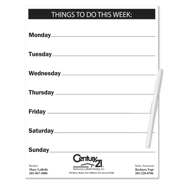 Printed Memo Board - Things To Do - Full Color