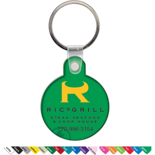 Custom Key Tag - Small Round w/Tab - Spot Color