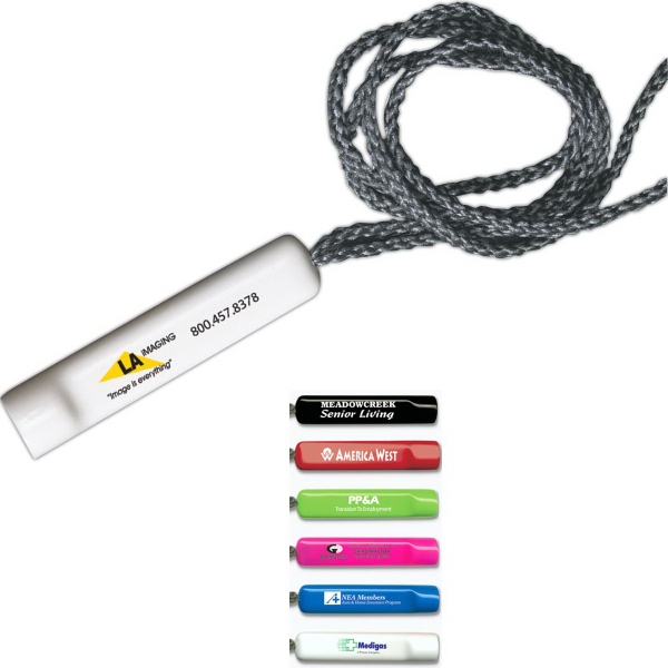 Promotional Pen Holder - Pen Sleeve with Gray Lanyard - Spot Color