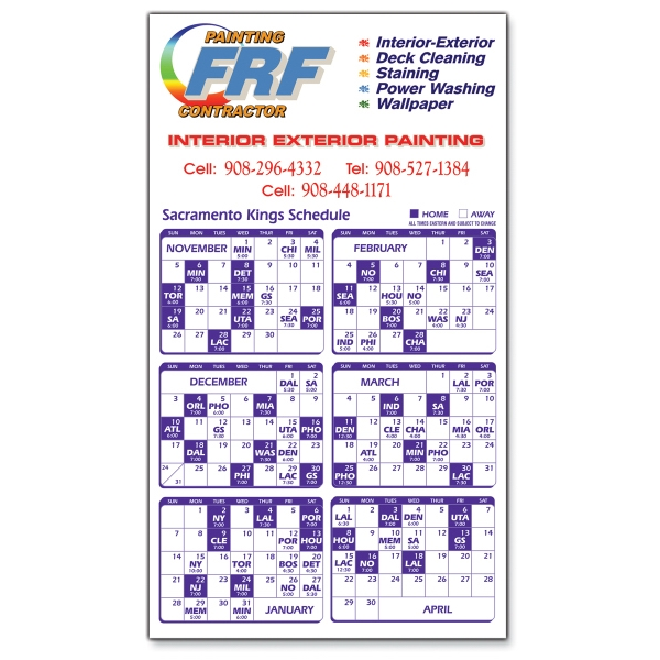 Promotional Magnet 20 Mil - Sports Calendar - Full Color