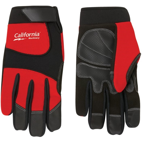 Imprinted Synthetic Leather Palm Mechanic Style Glove