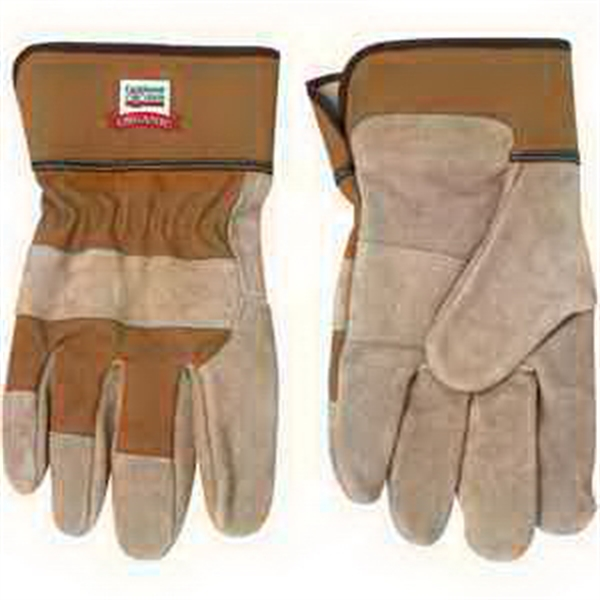 Imprinted Tan Cow Split Safety Glove