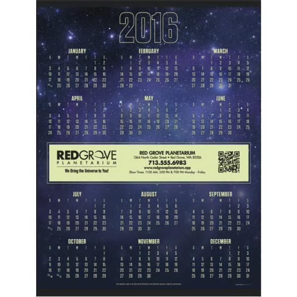 2016 Nuvo (TM) Glow In The Dark Span-A-Year Calendar
