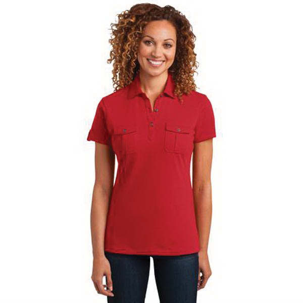 District Made (TM) Ladies' Jersey Double Pocket Polo