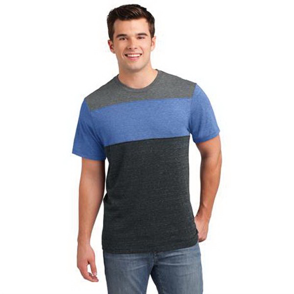 District (R) Young Mens Tri-Blend Pieced Crewneck Tee