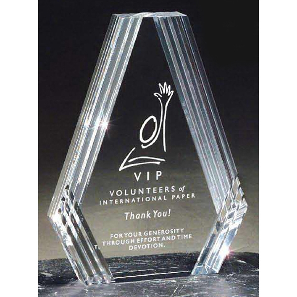 Customized Clear Diamond Carved Desk Award