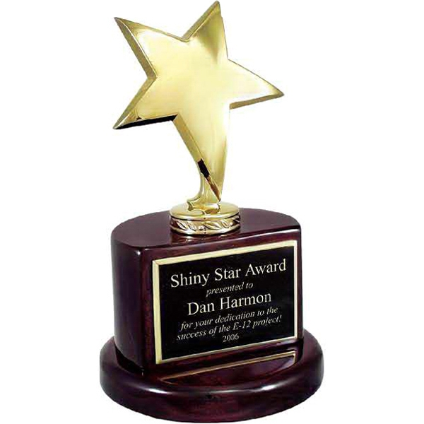 Custom Gold Star Trophy on Rosewood Piano Wood Base