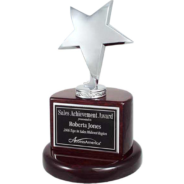 Promotional Silver Star Trophy on Rosewood Piano Wood Base
