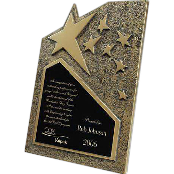 Imprinted Star Cast Self-Standing Plaque