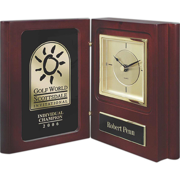 Imprinted Rosewood Piano Wood Book Clock