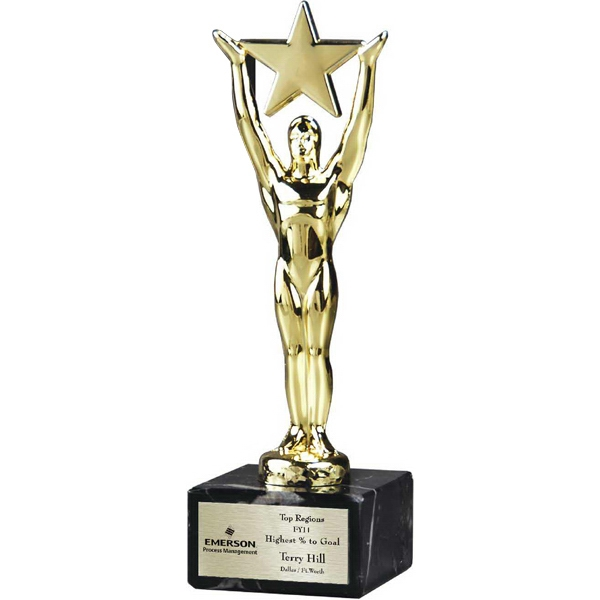Promotional Star Man Trophy on Genuine Italian Marble Base
