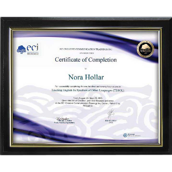 Customized Slide-in Certificate Plaque - Ebony finish