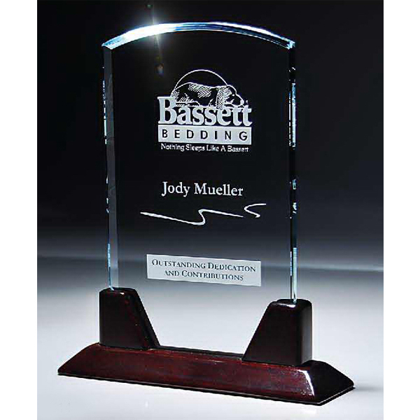 """Personalized 1/2"""" Thick Starphire Glass Dome on Rosewood Base"""
