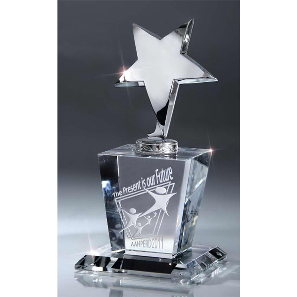 Printed Silver Star on Crystal Base