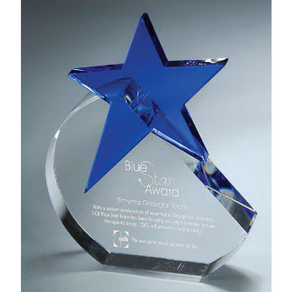 Imprinted Crystal Crescent Moon with Blue Glass Star