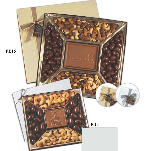 Promotional Small custom molded chocolate & nuts delights gift box