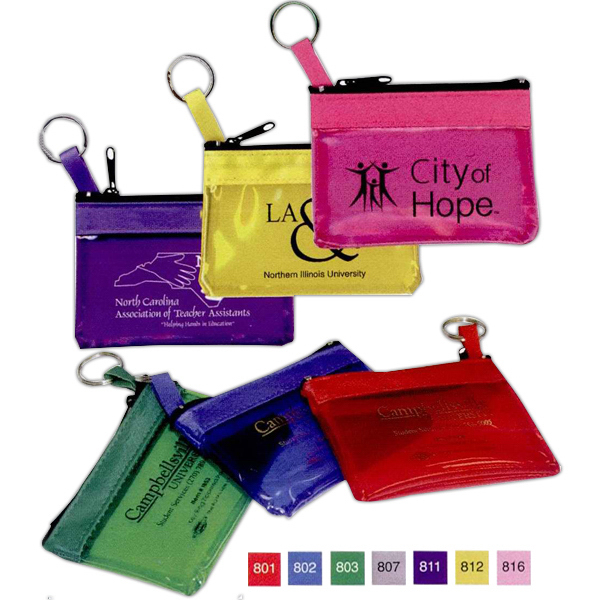 Promotional Key Ring Zippered Translucent Pouch