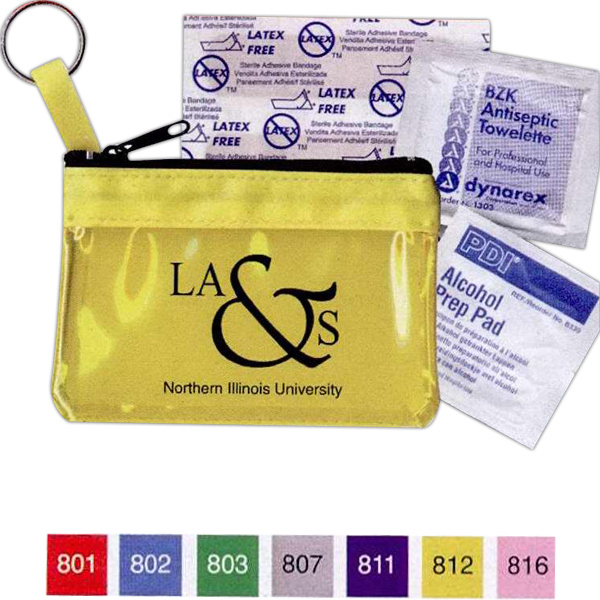 Imprinted Key Ring Zippered First Aid Pouch