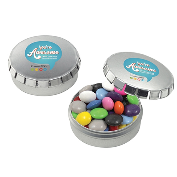 Imprinted Push top Tin with Chocolate Buttons