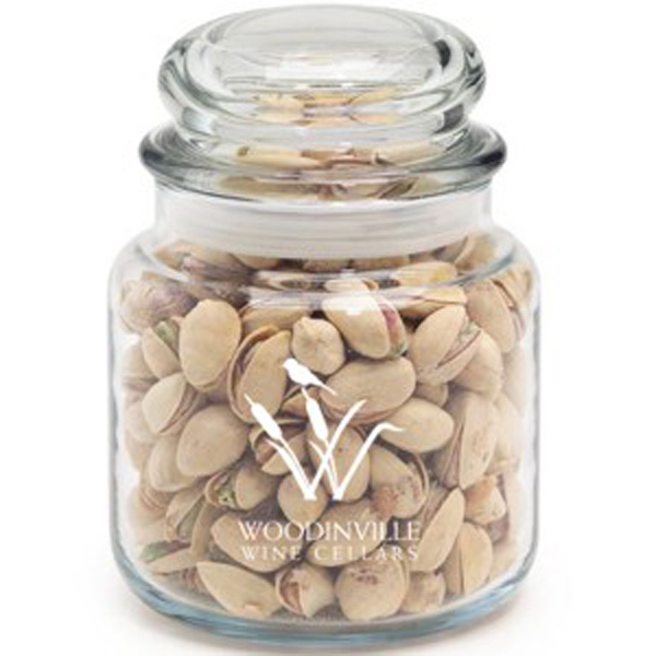 Printed Round Glass Jar / Pistachio Nuts
