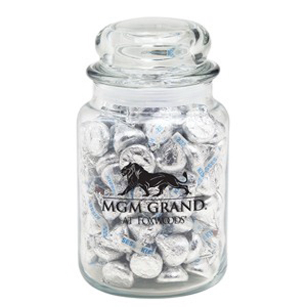 Personalized Round Glass Jar / Hershey's Kisses (R)