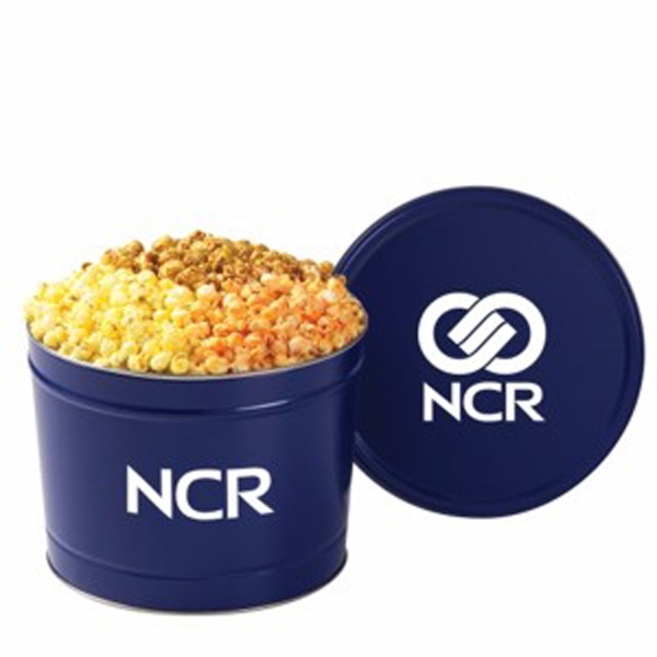 Promotional 3 Way Popcorn Tin / 2 Gallon