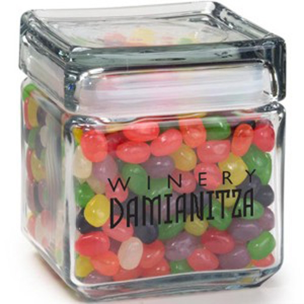 Printed Square Glass Jar / Jelly Beans Assorted
